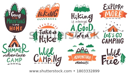 Travel badge design. Outdoor adventure logo with camping quote - Get Outside Stay Outside. Included  Stock photo © JeksonGraphics