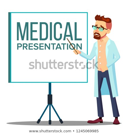 doctor man in white coat near meeting projector screen medical presentation vector isolated cartoo stock photo © pikepicture