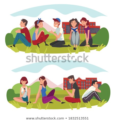 Boys and Girl Teenagers in Park Resting Set Vector Stock photo © robuart