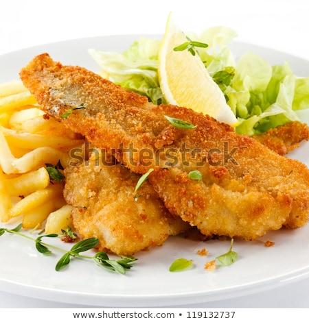 Stock fotó: Adag · hal · sültkrumpli · étel · zöld · kövér
