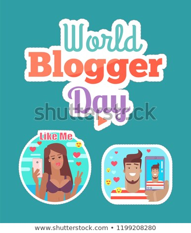 World Blogger Day Woman and Man Sticker Set Vector Stock photo © robuart