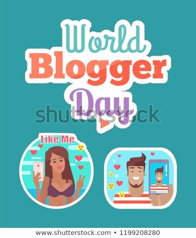 Мир блоггер день женщину человека наклейку Сток-фото © robuart