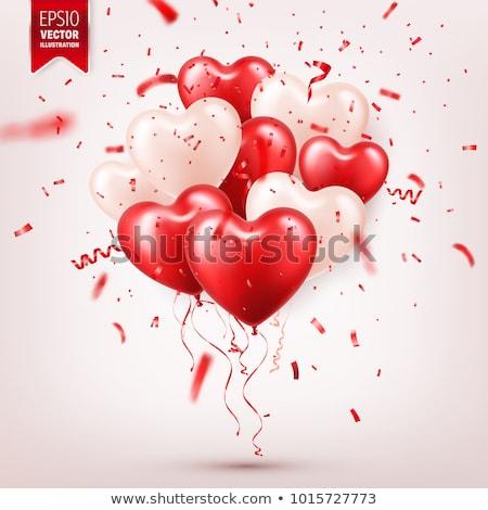 Roze ballon confetti Blauw gelukkig hart Stockfoto © nito
