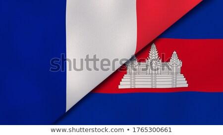 Twee vlaggen Frankrijk Cambodja geïsoleerd Stockfoto © MikhailMishchenko