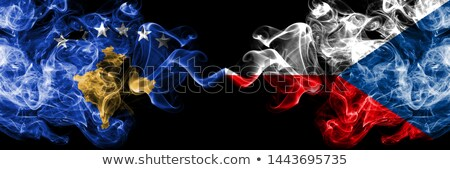 Twee vlaggen Verenigde Staten Tsjechische Republiek geïsoleerd Stockfoto © MikhailMishchenko
