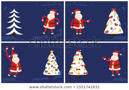 Holly Jolly Greeting Cards, Santa Pointing on Tree Stock photo © robuart