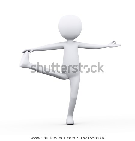 3d man in extended hand to big toe yoga pose stock photo © ribah