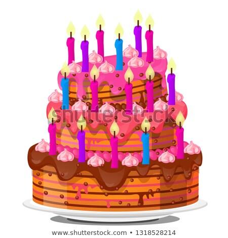 ünnepi réteges keksz torta fedett tejszínhab Stock fotó © Lady-Luck