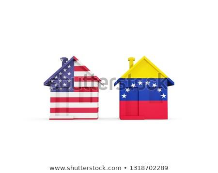 Kettő házak zászlók Egyesült Államok Venezuela izolált Stock fotó © MikhailMishchenko