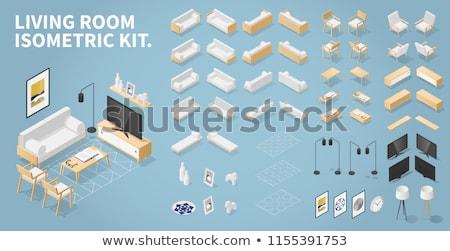 vektör · oturma · odası · düşük · ev · oda · sandalye - stok fotoğraf © tele52