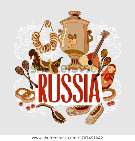 Schets traditioneel russisch water hand keuken Stockfoto © Arkadivna