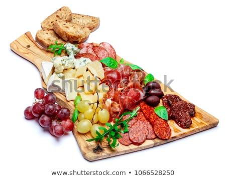 queso · uvas · aislado · blanco · alimentos - foto stock © boggy