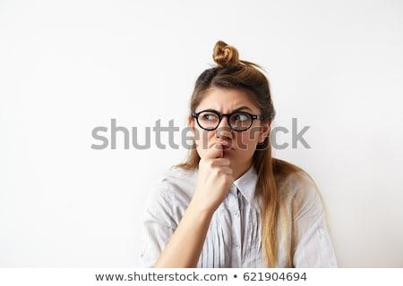 Confundirse jóvenes casual nina pie Foto stock © deandrobot