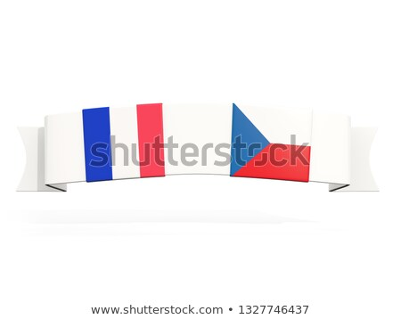 banner with two square flags of france and czech republic stock photo © mikhailmishchenko