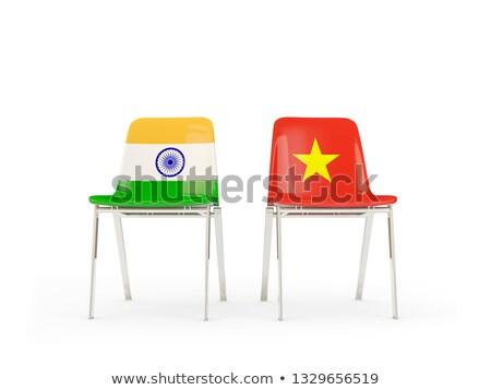 два стульев флагами Индия Вьетнам изолированный Сток-фото © MikhailMishchenko