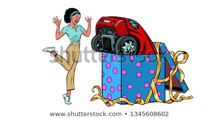 car holiday gift box. African woman funny reaction joy. isolate on white background Stock photo © studiostoks