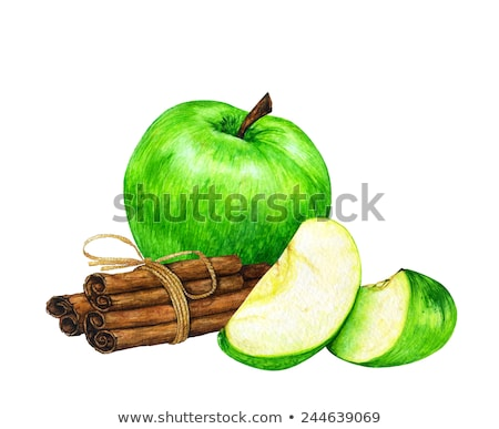 Watercolor cinnamon and green apples on green background Stock photo © ConceptCafe