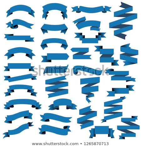 Vector Blauw lint groot ingesteld geïsoleerd Stockfoto © VetraKori