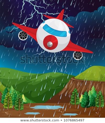 Ingesteld vliegtuig vliegen slechte weer illustratie business Stockfoto © bluering