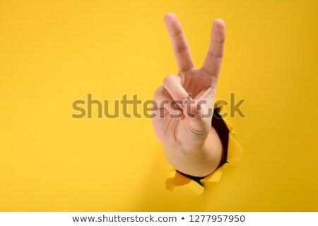 Paz victoria mano dos dedo signo Foto stock © Krisdog