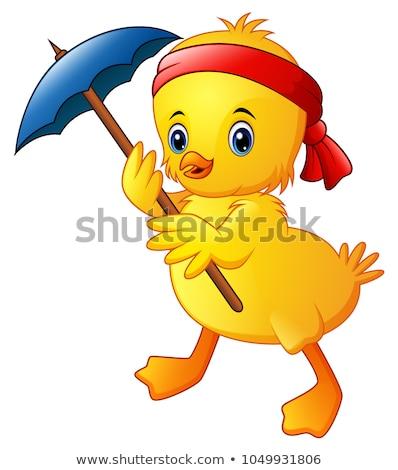 Boldog citromsárga csirke rajzfilmfigura tart kellemes húsvétot Stock fotó © hittoon