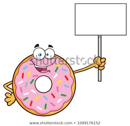 happy donut cartoon character holding up a blank sign stock photo © hittoon
