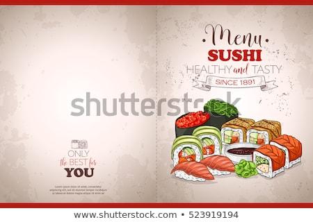 шаблон · суши · палочки · для · еды · иллюстрация · рыбы · искусства - Сток-фото © netkov1