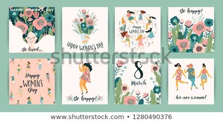 Elegante saudação cartão postal mulher dia vetor Foto stock © pikepicture
