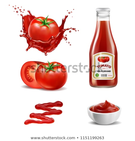 Bowl Of Ketchup Or Tomato Sauce With Splash Vector Stock photo © pikepicture