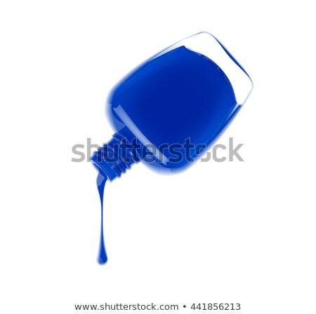 Garrafa azul unha polonês feminino cosmético vetor Foto stock © pikepicture