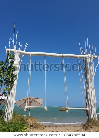 An Empty Wooden Swing In Front Of Sea At Beach Stock photo © AndreyPopov