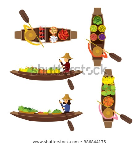 woman with flowers in hat side view vector cartoon stock photo © robuart