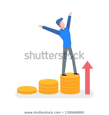 Man Standing on Coins with Hands Up, Arrow Vector Stock photo © robuart