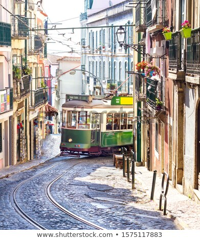 Vintage tram - symbol of Lisbon, Portugal, tramway in Lisbon, si Stock photo © Winner