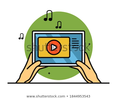 Hand holding tablet with sound design concept Stock photo © ra2studio