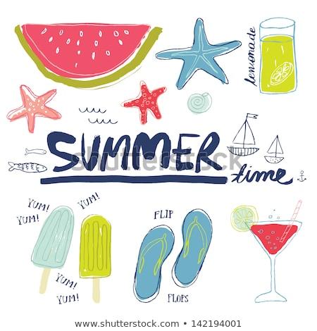 Forró jókedv nyár vektor frissítő limonádé Stock fotó © robuart