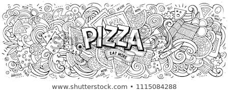 Karikatur · line · Kunst · cute · Kritzeleien · Pizza - stock foto © balabolka