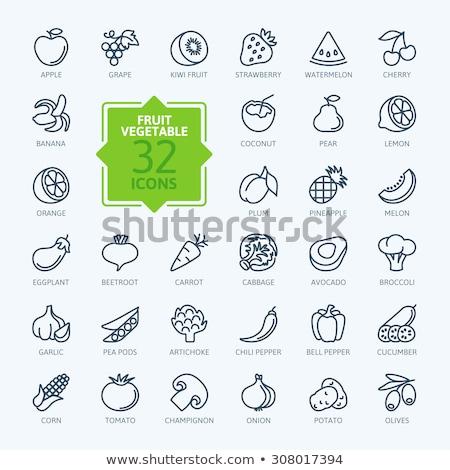 Padlizsán ikon gyűjtemény ikon zöld zöldség friss Stock fotó © bspsupanut