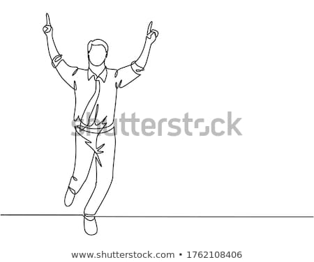 Young businessman drawing with finger in the air. Stock photo © lichtmeister