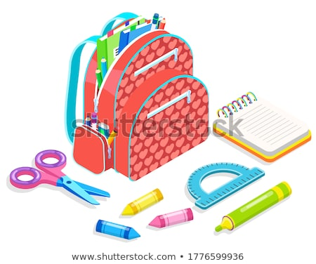 Notebook and Backpack, Chancellery Sign Vector Stock photo © robuart