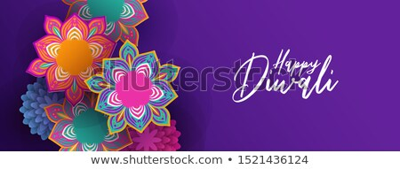 Happy Diwali banner of indian papercut flowers Stock photo © cienpies