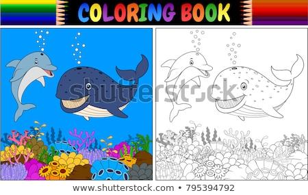 Yunus hayvan karakter karikatür boyama kitabı siyah beyaz Stok fotoğraf © izakowski
