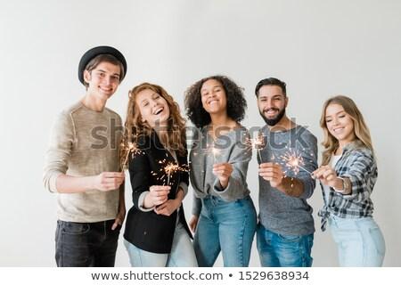 Elragadtatott srácok lányok bengáli fények élvezi Stock fotó © pressmaster