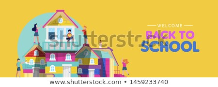 back to school card of kids making book house stock photo © cienpies