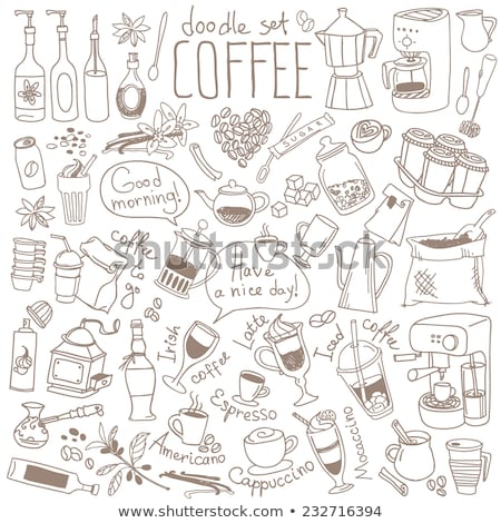 Coffee Beans, a Cup of Brewed Coffee and a Coffee Press Stock photo © Frankljr