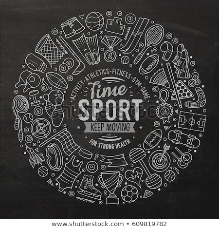 Hand drawn set of Sport cartoon doodle objects Stock photo © balabolka