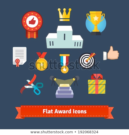 Star on podium flat color illustration Stock photo © barsrsind