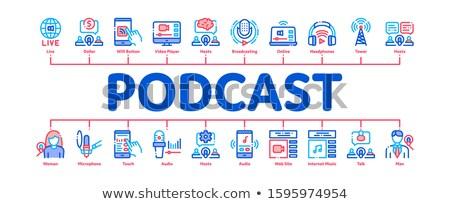 Podcast rádio mínimo bandeira vetor Foto stock © pikepicture