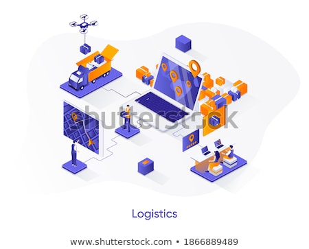 Delivery route - colorful vector cartoon character illustration Stock photo © Decorwithme