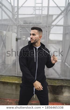 Verticaal shot knap bebaarde jonge mannelijke Stockfoto © benzoix